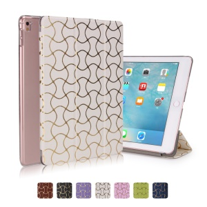 Hot Stamping Waves Smart Leather Stand Flip Cover for iPad Pro 9.7 - White