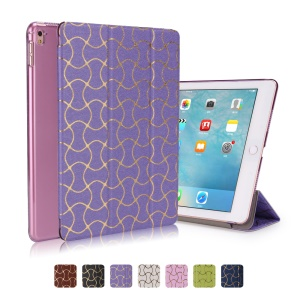 Hot Stamping Waves Tri-fold Leather Smart Stand Cover for iPad Pro 9.7 - Purple