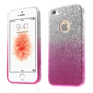3-in-1 Glaring Piece PC Case Gradient Color TPU Cover for iPhone SE 5s 5 - Rose