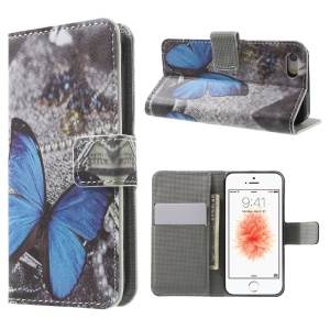 Leather Wallet Stand Case for iPhone SE/5s/5 - Blue Butterfly