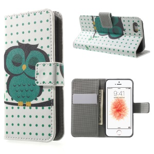 Leather Wallet Stand Phone Case for iPhone SE/5s/5 - Dozing Owl