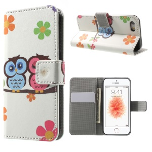 Leather Wallet Stand Flip Case for iPhone SE/5s/5 - Owl Couple