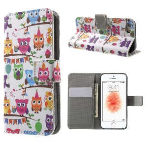 Leather Wallet Stand Shell for iPhone SE/5s/5 - Owl Family