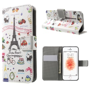 Leather Wallet Stand Case for iPhone SE/5s/5 - Cartoon Patterns