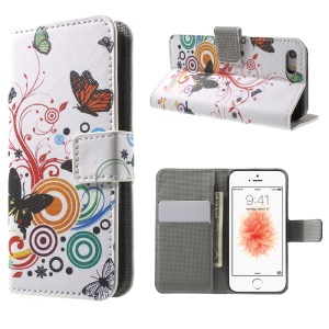 Leather Wallet Stand Protective Case for iPhone SE/5s/5 - Butterfly and Vine
