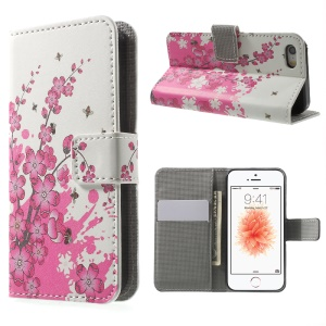 Leather Wallet Stand Case for iPhone SE/5s/5 - Plum Blossom