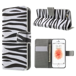 Leather Wallet Stand Case for iPhone SE/5s/5 - Zebra Pattern