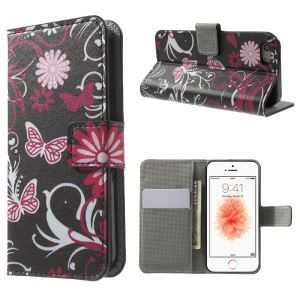 Leather Wallet Stand Case for iPhone SE/5s/5 - Butterfly and Flower