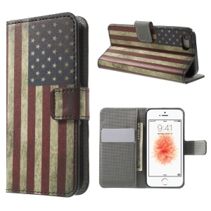Leather Card Slot Stand Case for iPhone SE/5s/5 - Vintage US Flag