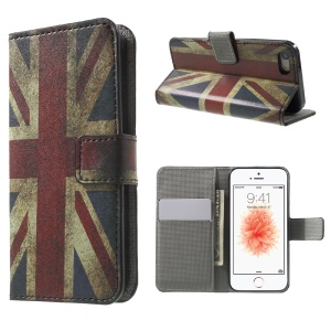 Leather Card Holder Stand Case for iPhone SE/5s/5 - Retro UK Flag