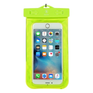 BASEUS Fluorescent 30M Dive Waterproof Bag for iPhone 6s Plus / 6 Plus with Strap - Green