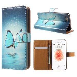 Stand Card Slot Leather Cover for iPhone SE/5s/5 - Blue Butterfly on the Water
