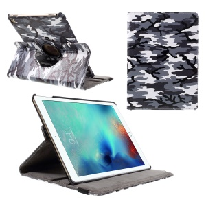 360 Rotation Stand Leather Cover for iPad Pro 9.7 inch - Grey Camouflage Pattern