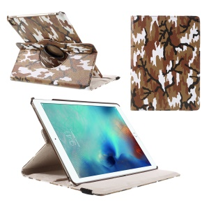 360 Rotation Tablet Leather Stand Case for iPad Pro 9.7 inch - Brown Camouflage Pattern