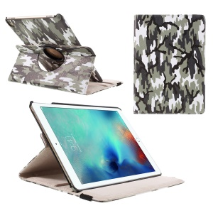 360 Rotation Tablet Leather Shell for iPad Pro 9.7 inch - Blue Camouflage Pattern