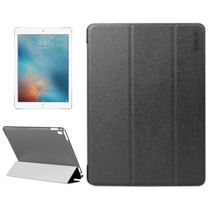 ENKAY Silk Texture Tri-fold Smart Leather Case for iPad Pro 9.7 inch - Black
