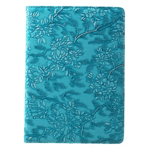 Grapevine Pattern 360-Degree Swivel Stand Leather Case for iPad Pro 9.7 - Blue