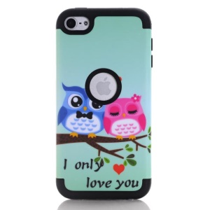 Owl Couple TPU PC Hybrid Case for iPod Touch 6 - Black
