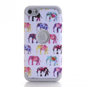 Elephant Pattern 3-in-1 PC TPU Hybrid Cover for iPod Touch 6 - Grey