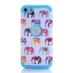 Elephant Pattern 3-in-1 PC TPU Hybrid Shell for iPod Touch 6 - Dark Blue
