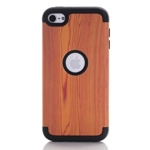 Wood Texture 3-piece PC & TPU Protective Case for iPod Touch 6 - Black