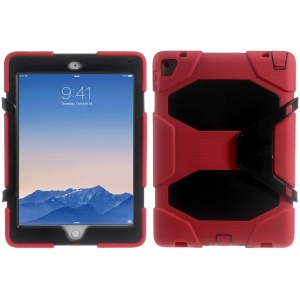 Military Duty Silicone PC Combo Cover for iPad Pro 9.7 with Clip Kickstand - Black / Red