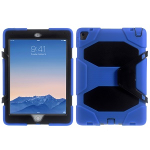 Heavy Duty Silicone PC Hybrid Cover for iPad Pro 9.7 with Clip Kickstand - Black / Blue