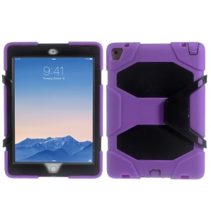 Military Duty Silicone PC Hybrid Case for iPad Pro 9.7 with Clip Kickstand - Black / Purple
