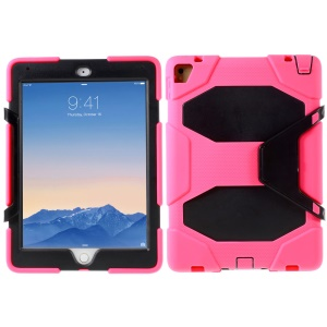 Military Duty Silicone PC Hybrid Cover for iPad Pro 9.7 with Clip Kickstand - Black / Rose