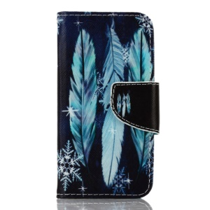 Patterned Leather Wallet Stand Shell for iPhone SE/5s/5 - Feathers