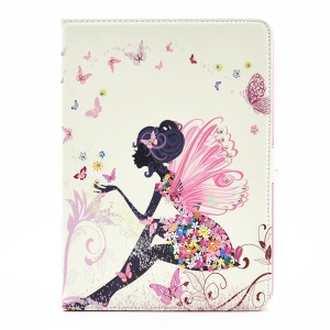 For iPad Pro 9.7 Butterfly Series Rhinestone Decorated Smart Leather Stand Case - Butterfly-like Girl