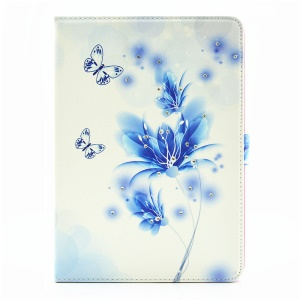 For iPad Pro 9.7 Butterfly Series Rhinestone Decorated Smart Leather Stand Cover - Butterflies and Blue Flowers