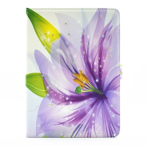 For iPad Pro 9.7 Butterfly Series Rhinestone Decorated Smart Leather Stand Shell - Translucent Purple Flower