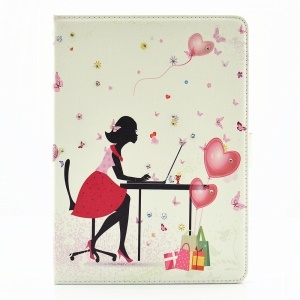 For iPad Pro 9.7 Butterfly Series Rhinestone Decorated Smart Leather Flip Case - Girl Surrounded by Butterflies