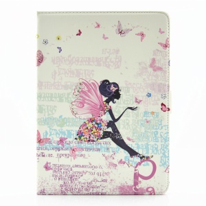 For iPad Pro 9.7 Butterfly Series Rhinestone Decorated Smart Leather Flip Phone Cover - Dancing Butterflies and Girl