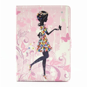 For iPad Pro 9.7 Butterfly Series Rhinestone Decorated Smart Leather Flip Protective Case - Girl Playing with Butterflies