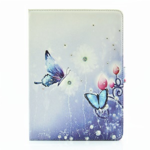 For iPad Pro 9.7 Butterfly Series Rhinestone Decorated Smart Leather Flip Shell - Sparkling Butterflies