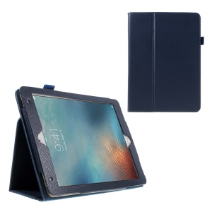 Litchi Texture Flip Leather Wake/Sleep Cover for iPad Pro 9.7 inch - Dark Blue