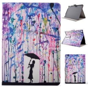 PU Leather Card Holder Smart Shell for iPad Pro 9.7 inch - Lady Holding Umbrella