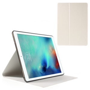 Sand-like Texture Stand Leather Cover for iPad Pro 9.7 inch - White