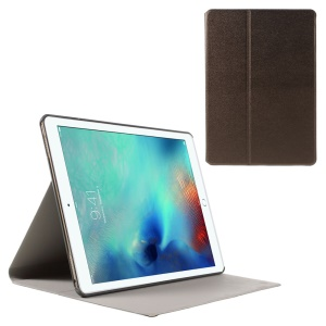 Sand-like Texture Stand Leather Cover Case for iPad Pro 9.7 inch - Bronze