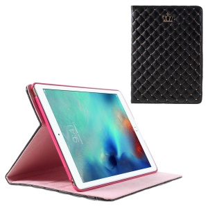 Crown Beads Grids Flip Stand Leather Case for iPad Pro 9.7 inch - Black