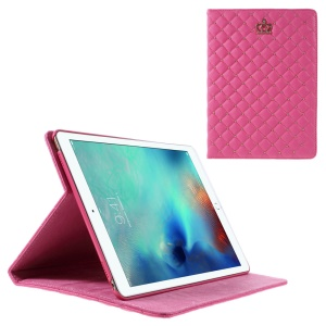 Crown Beads Grids Stand PU Leather Case for iPad Pro 9.7 inch - Rose