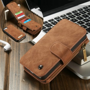CASEME Detachable 2-in-1 Wallet 8-Slot Genuine Split Leather Cover for iPhone SE 5s 5 - Brown