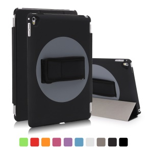 360 Degree Rotation Hand-hold Belt Leather Smart Case for iPad Pro 9.7 inch - Black