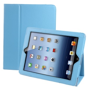 Litchi Texture Smart Leather Stand Cover for iPad 4/3/2 - Baby Blue