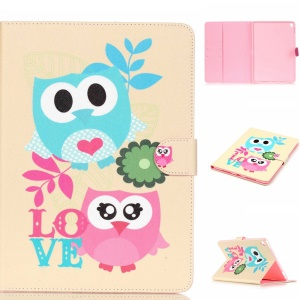 Leather Card Holder Cover for iPad Pro 9.7 inch - Adorable Owl Couple