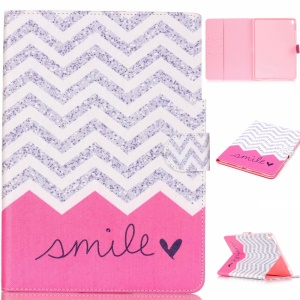 Leather Wallet Card Holder Case for iPad Pro 9.7 inch - Chevron and Smile