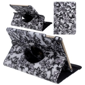Floral Rotary Stand Leather Smart Case for iPad mini 4 - Black