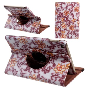Floral Rotary Stand Leather Tablet Cover for iPad mini 4 - Red